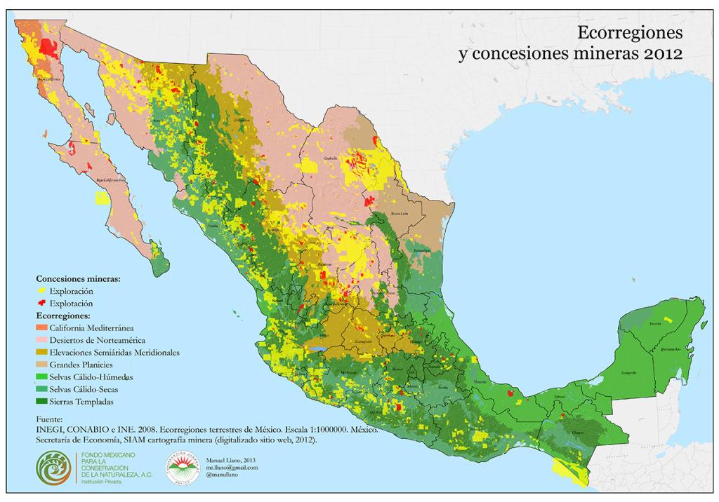Concesiones mineras y ecorregiones (clic para ver más grande)