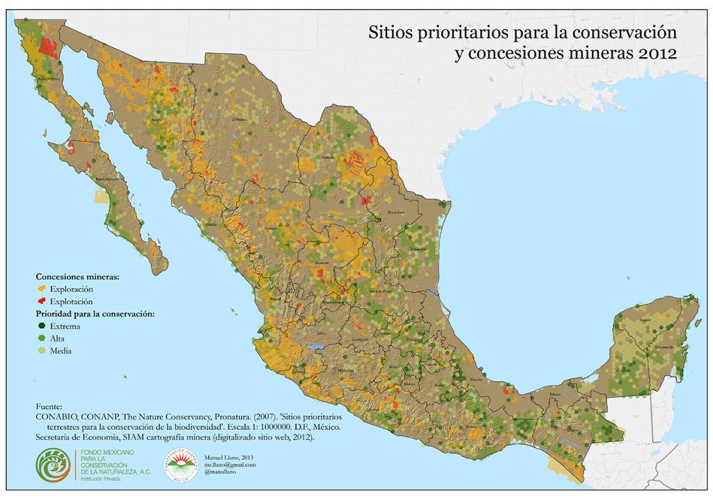 Concesiones mineras y sitios prioritarios para la conservación (clic para ver más grande)