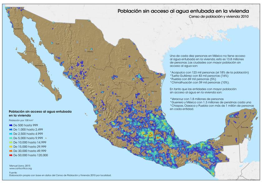 Población sin acceso al agua en la vivienda (clic para ver más grande)