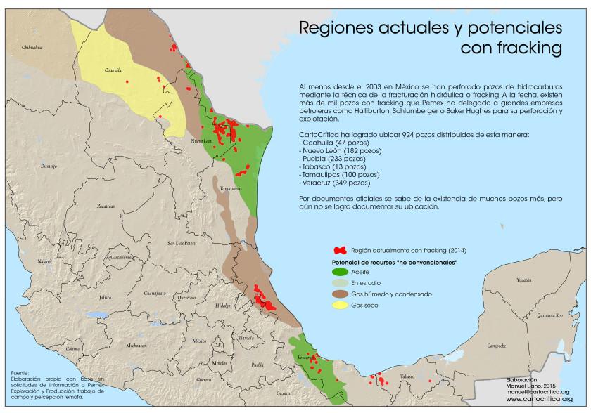 Regiones actuales y potenciales con fracking