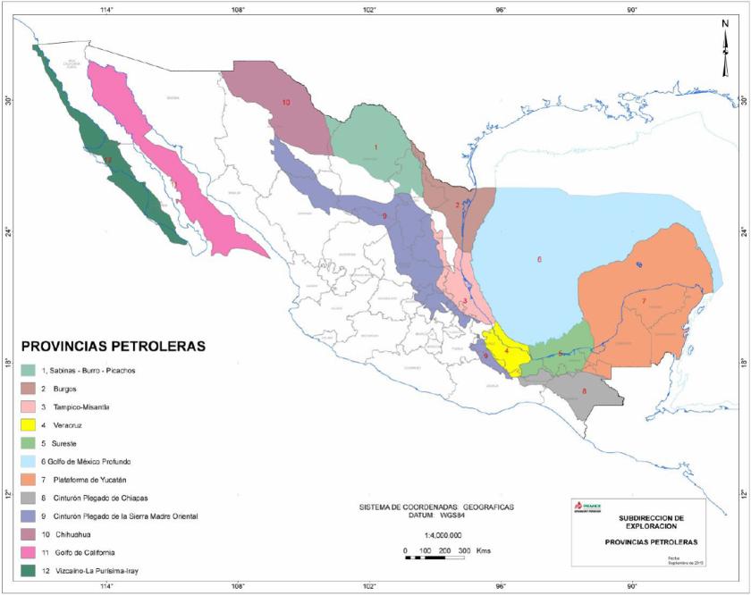 Provincias Petroleras de México, Pemex 2013