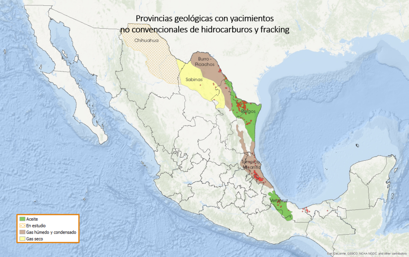 Provincias geológicas con yacimientos no convencionales de hidrocarburos y fracking