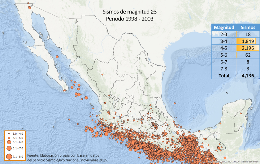 Fuente: datos del Servicio Sismológico Nacional, elaborado por CartoCrítica, 2015.